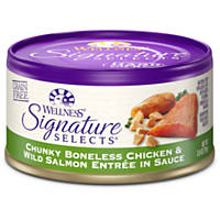 Wellness Signature Selects Grain Free Chunky Entree Canned Cat Food, Chicken & Salmon