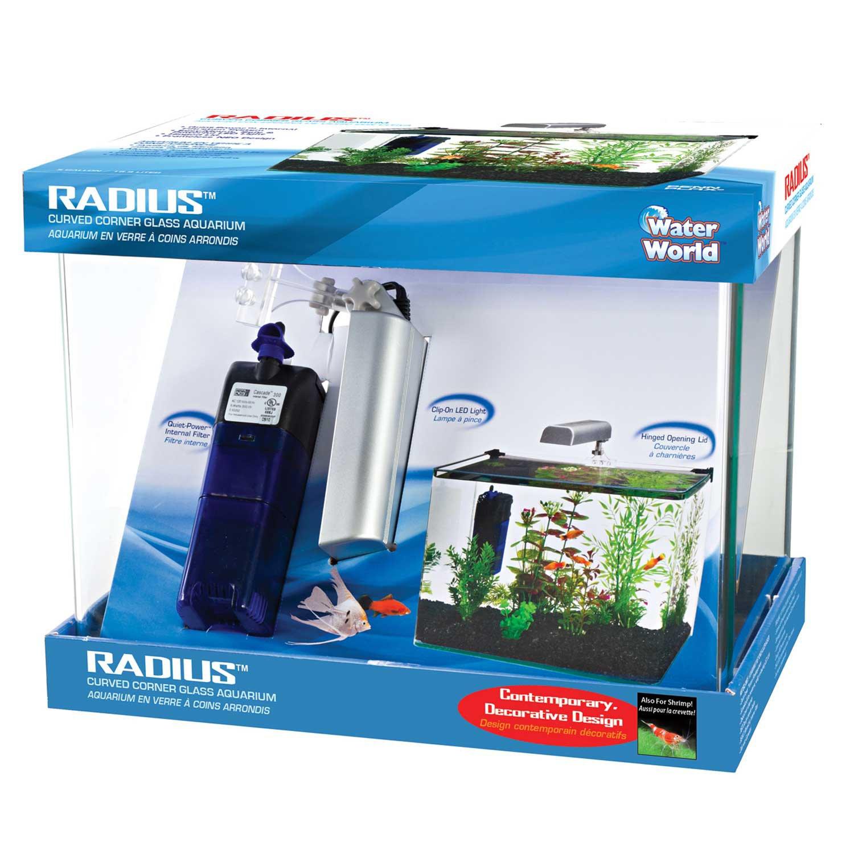 Penn Plax Radius Curved Corner Glass Aquarium Kit