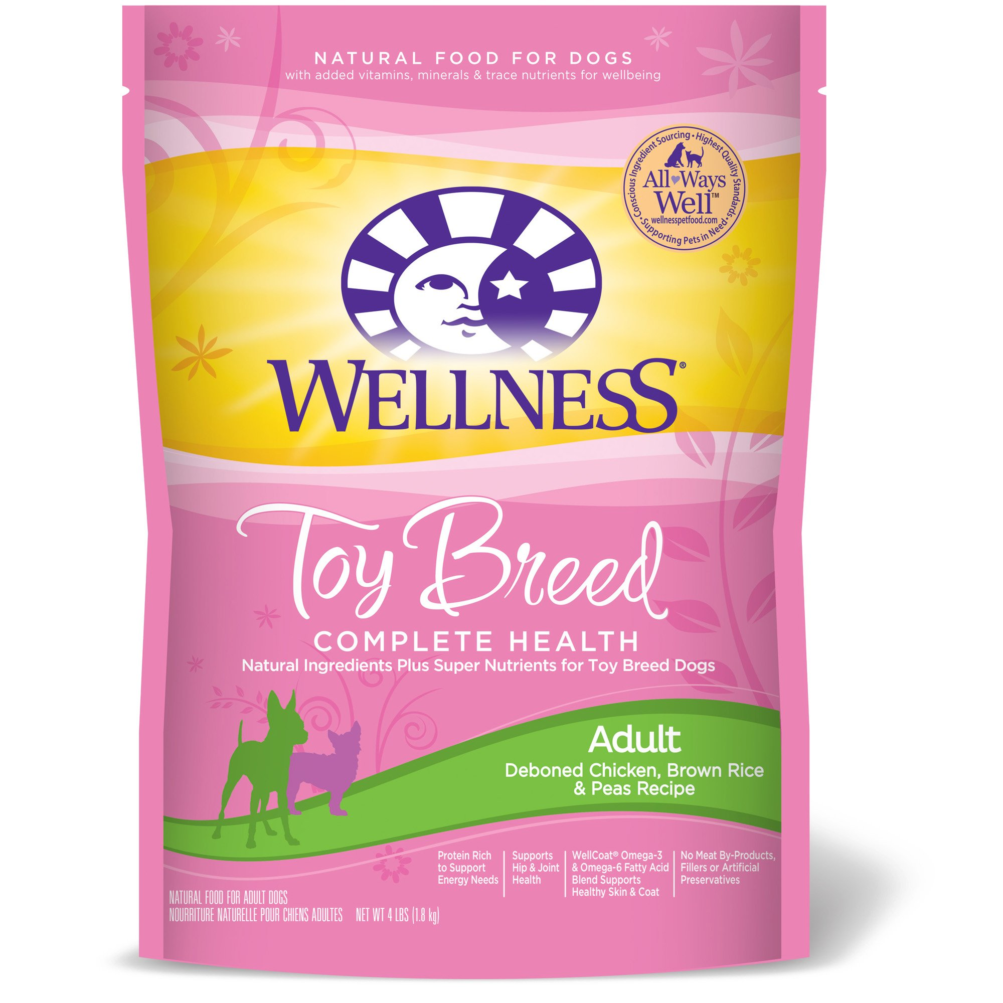 Wellness Toy Breed Complete Health Chicken Brown Rice & Peas Adult Dog Food