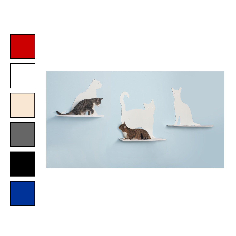 The Refined Feline Silhouette Cat Shelf Set of 3 in Red