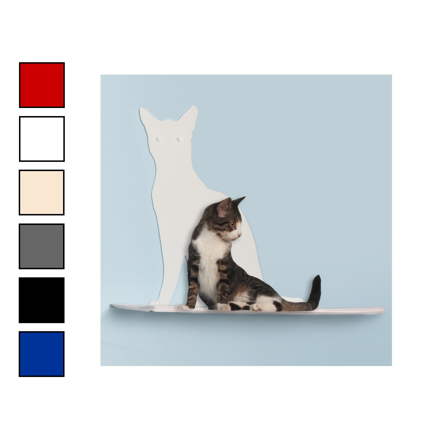 The Refined Feline Perch Silhouette Cat Shelf in Colors