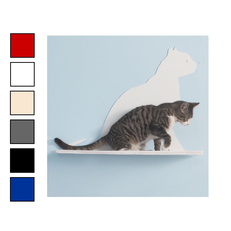 The Refined Feline Gaze Silhouette Cat Shelf in Red