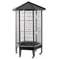 HQ Hexagonal Aviary Bird Cage in Black