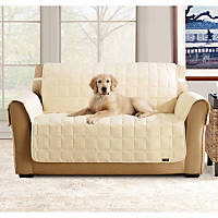 Sure Fit Soft Suede Waterproof Sofa Throw Cover in Cream
