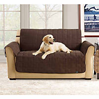 Sure Fit Soft Suede Waterproof Love Seat Throw Cover in Chocolate