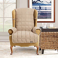 Sure Fit Soft Suede Waterproof Wing Chair Throw Cover in Taupe