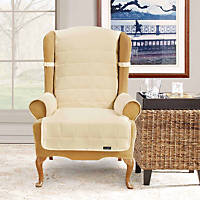 Sure Fit Soft Suede Waterproof Wing Chair Throw Cover in Cream