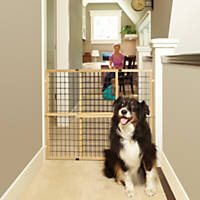 My Pet Wood Frame Wire Mesh Pet Gate