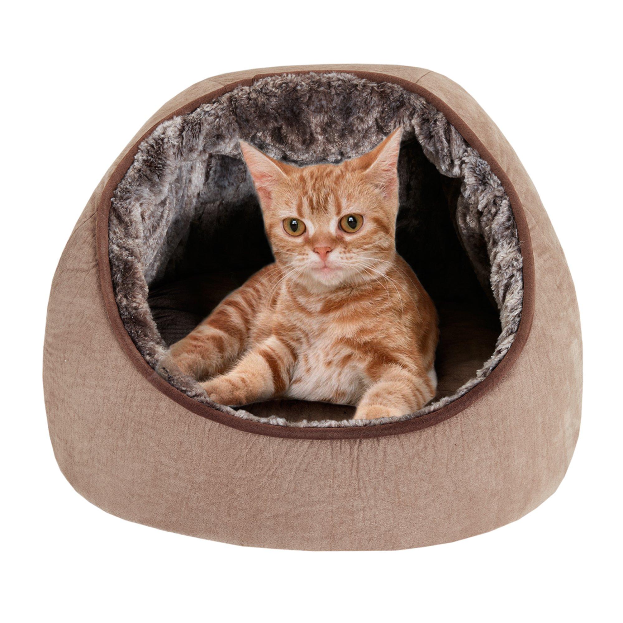 JLA Hooded Snuggler Tan Cat Bed