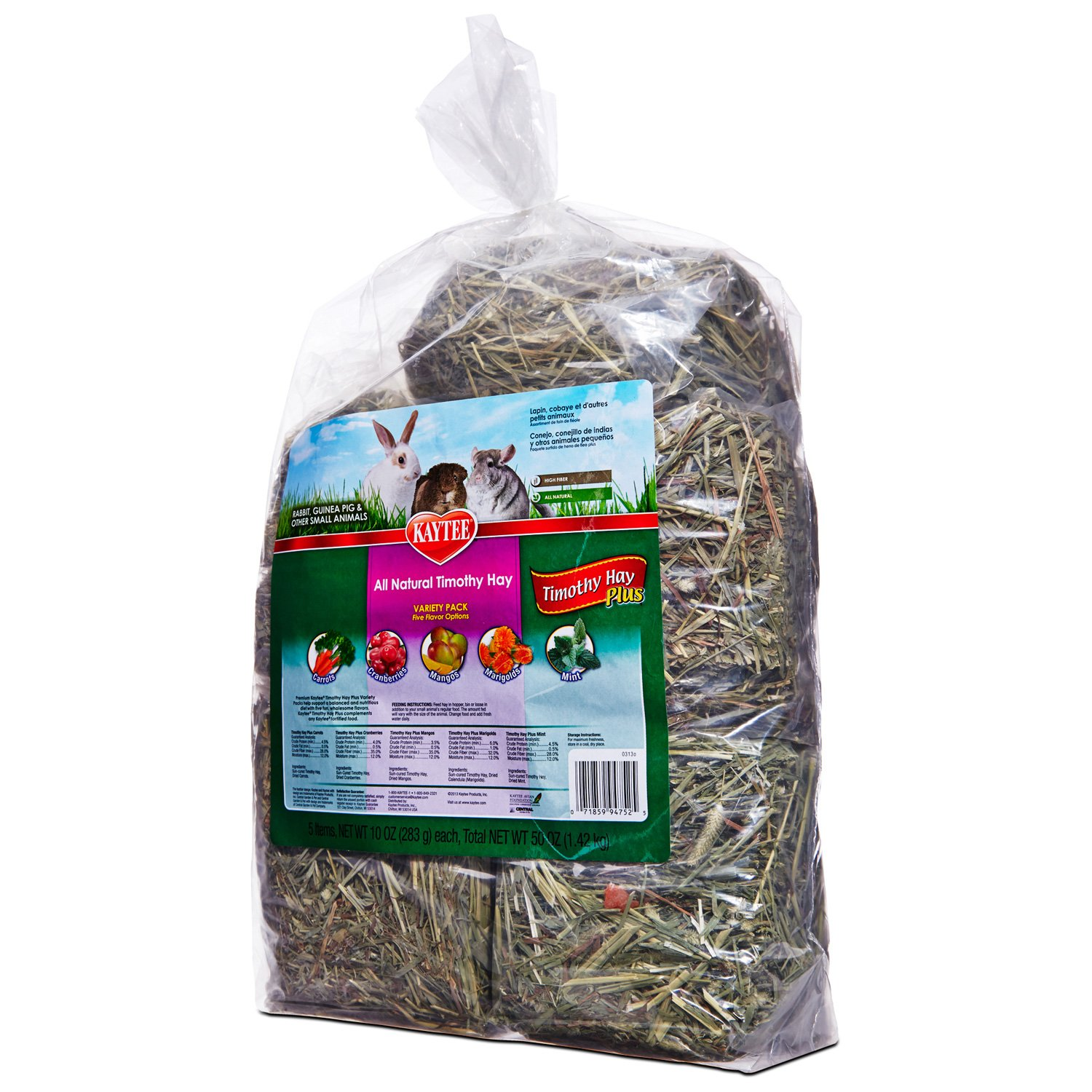 Kaytee All Natural Timothy Hay Plus Variety Pack for Rabbits & Small Animals