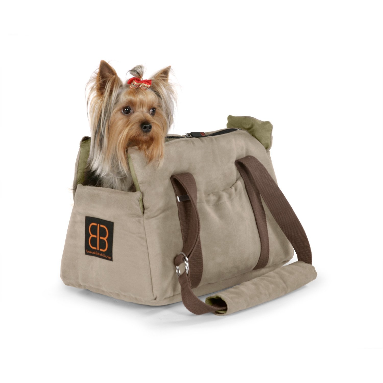 Pet Ego Velvet Bitty Bag Pet Carrier in Stone & Sage