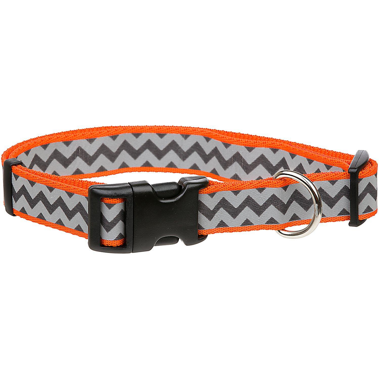 Coastal Pet Lazer Brite Reflective Nylon Orange Chevron Print Dog Collar