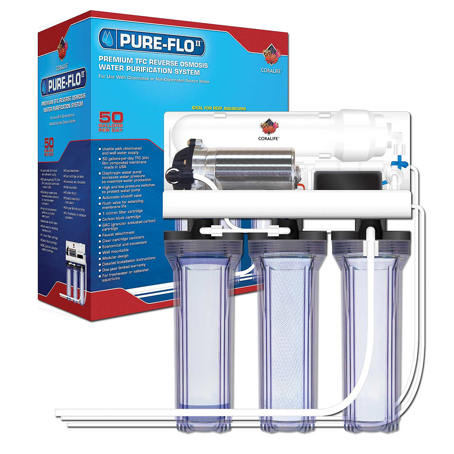 Coralife Pure Flo II Reverse Osmosis 3 Canister System with Pump, 16.7 L X 15.1 W X 12 H