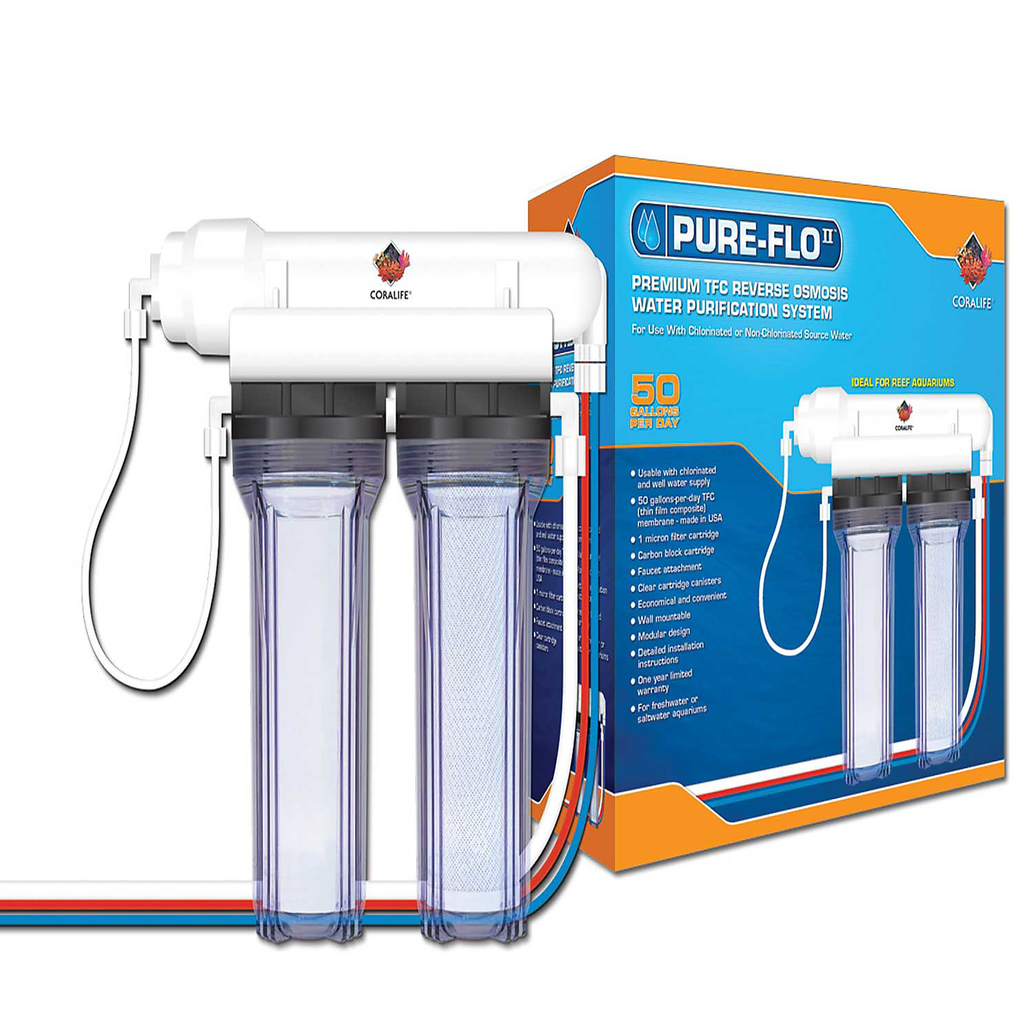 Coralife Pure Flo II Reverse Osmosis 2 Canister System, 15.2 L X 7.8 W X 16.6 H