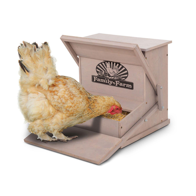 Precision Pet Wood Treadle Chicken Feeder