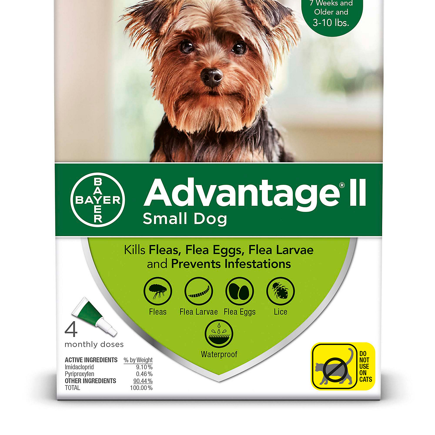 Advantage Ii Once A Month Topical Small Dog Flea Treatment 4 Mo. 3 To 10 Lbs.