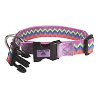 Hamilton Adjustable Nylon Pink Chevron Print Dog Collar