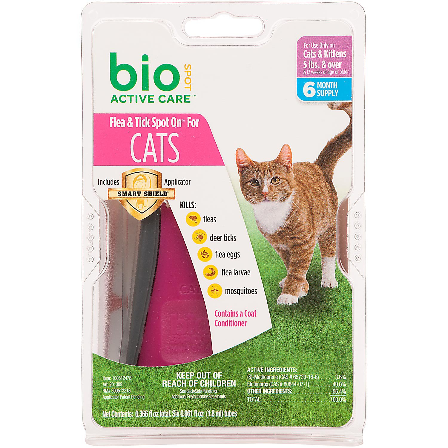Bio Spot Active Care Flea & Tick Spot On Cat Applicator, For Cats up to 5 lbs