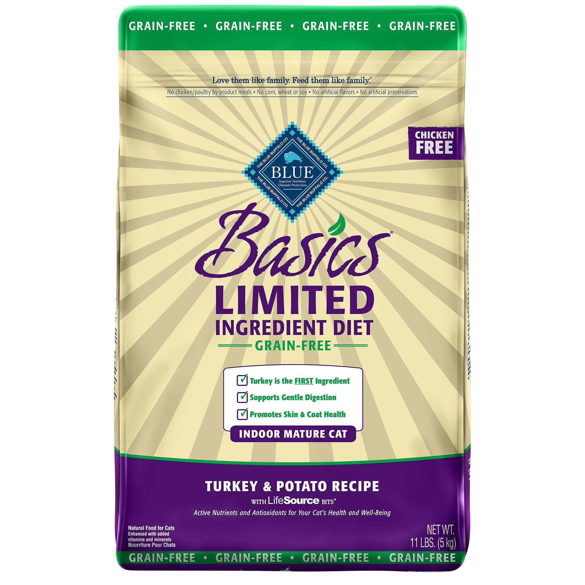 Blue Buffalo Basics Limited Ingredient Grain Free Turkey & Potato Indoor Mature Cat Food