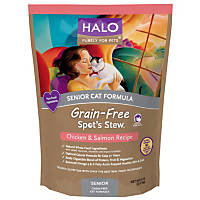 Halo Spot's Stew Grain Free Chicken & Salmon Senior Cat Food