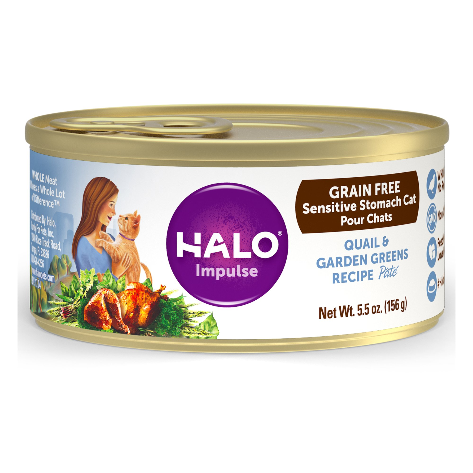 Halo Impulse Grain Free Canned Cat Food, Quail & Greens