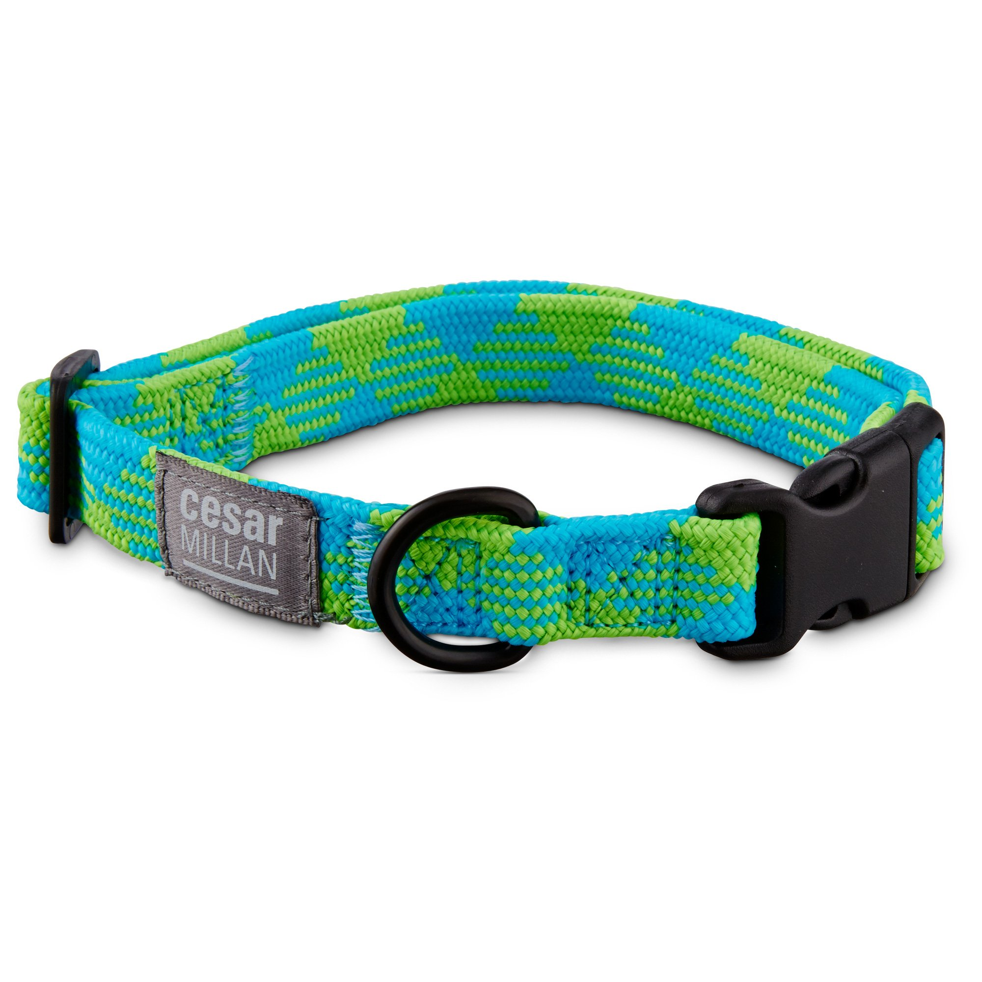Cesar Millan Braided Brights Blue & Lime Nylon Dog Collar