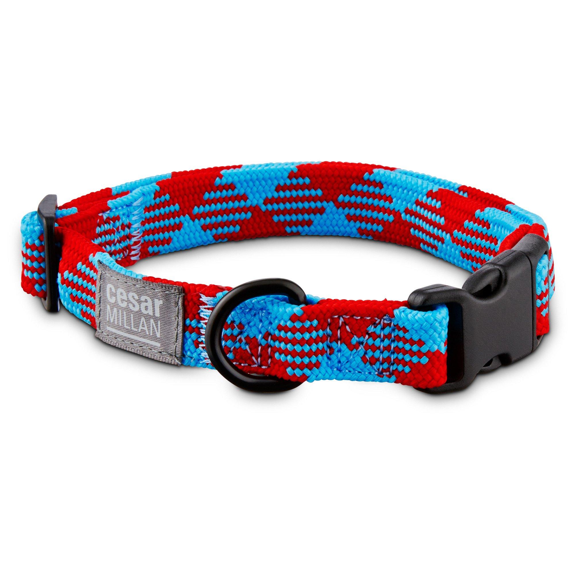 Cesar Millan Braided Brights Red & Blue Nylon Dog Collar
