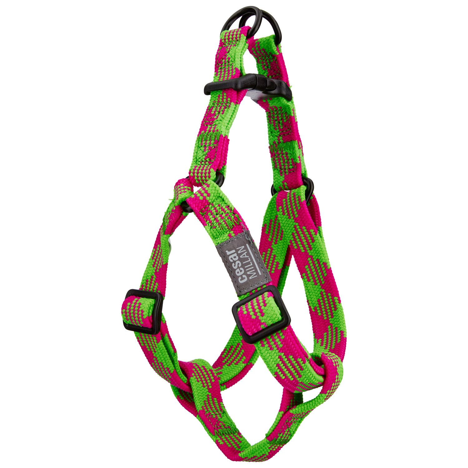 Cesar Millan Braided Brights Pink & Lime Step-In Dog Harness