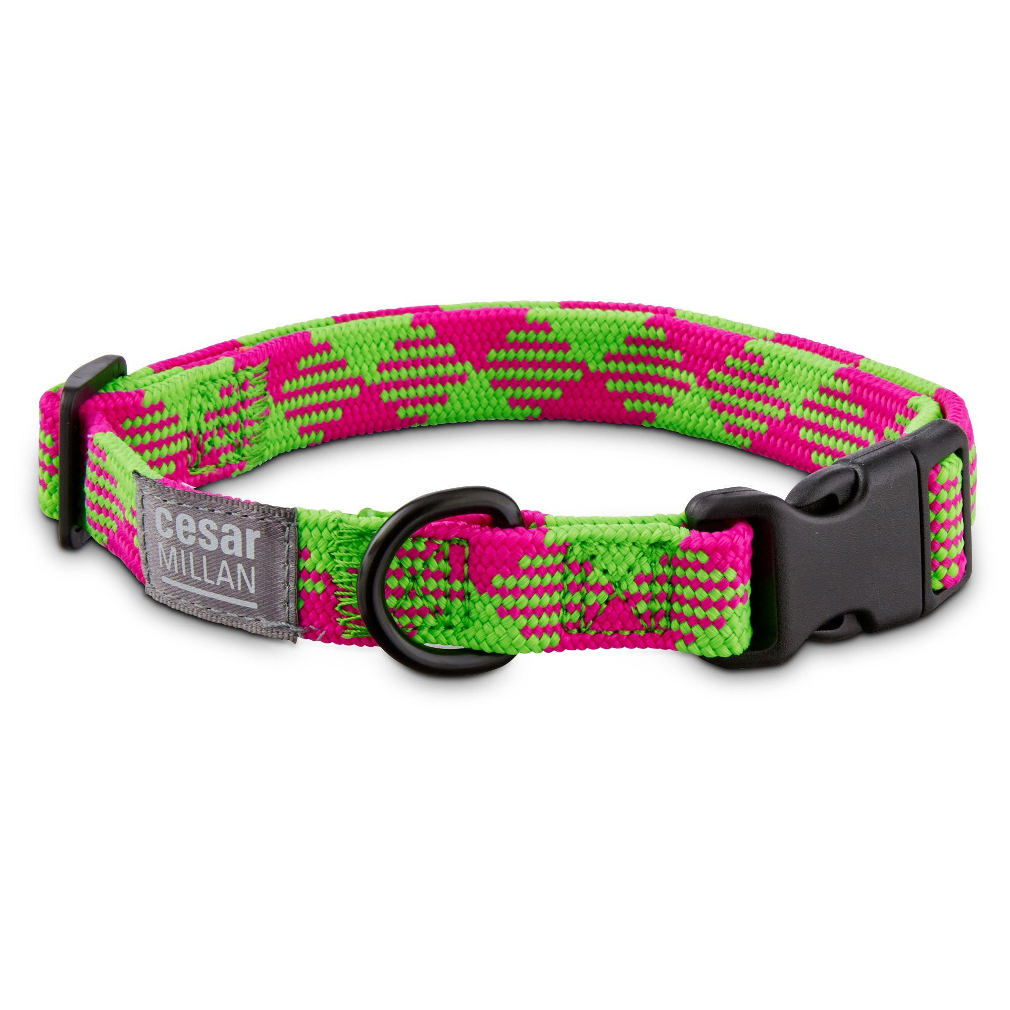 Cesar Millan Braided Brights Pink & Lime Nylon Dog Collar