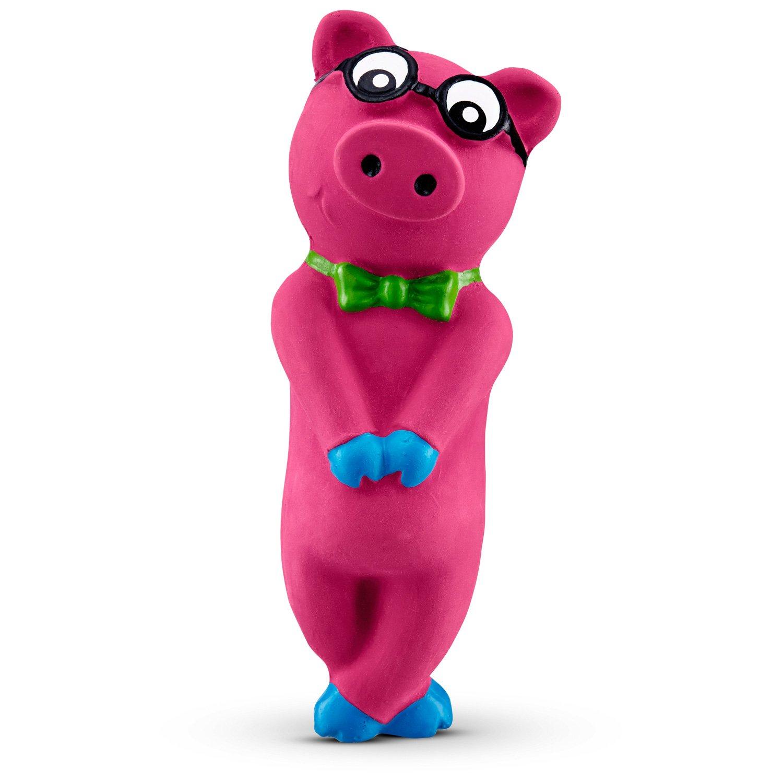 Leaps & Bounds Bashful Nerdy Pig Latex Dog Toy