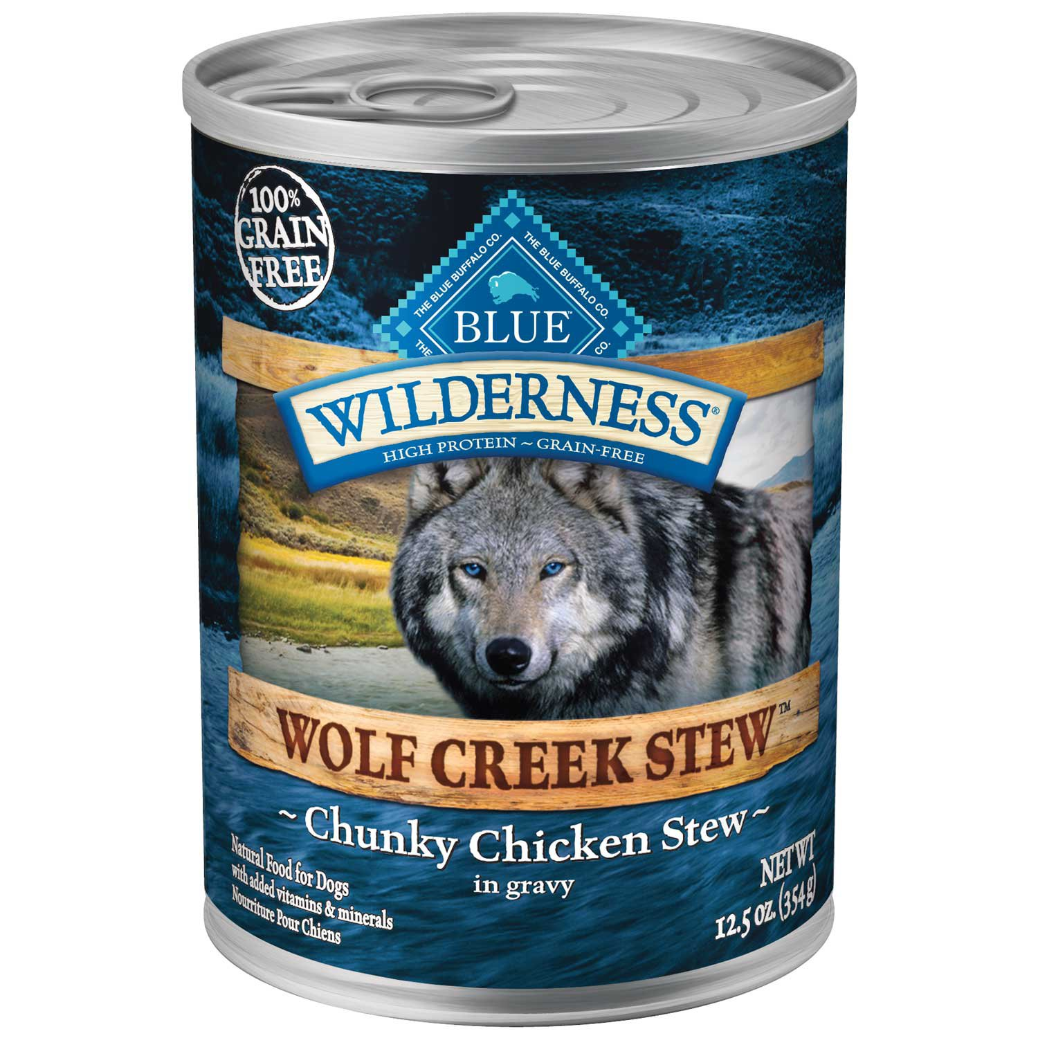 Blue Buffalo Wilderness Wolf Creek Stews Adult Canned Dog Food, Chicken
