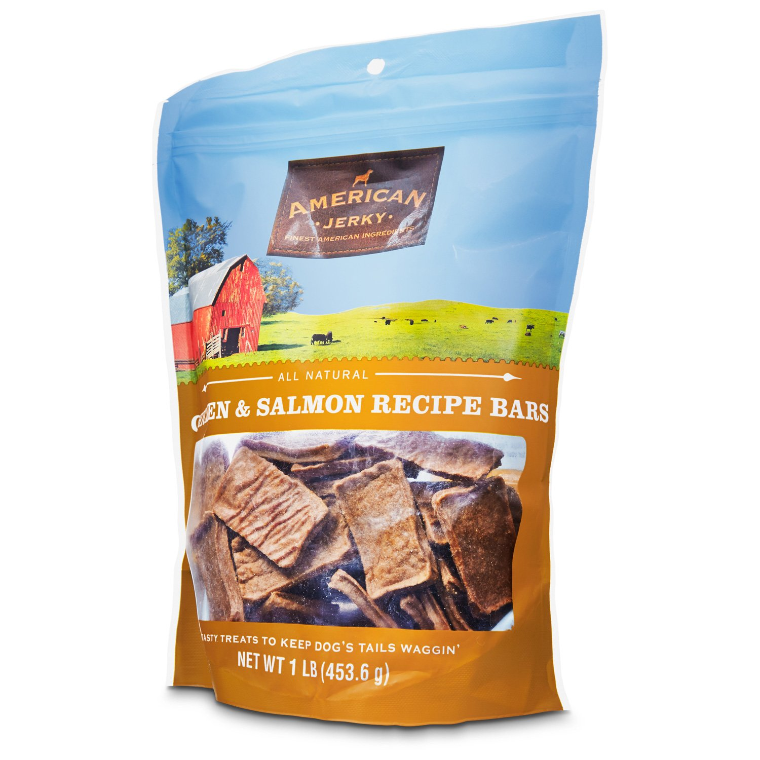 American Jerky Chicken & Salmon Recipe Bar Dog Treats
