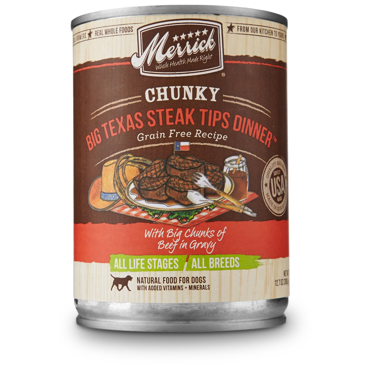Merrick Chunky Big Texas Steak Tips Dinner Canned Dog Food