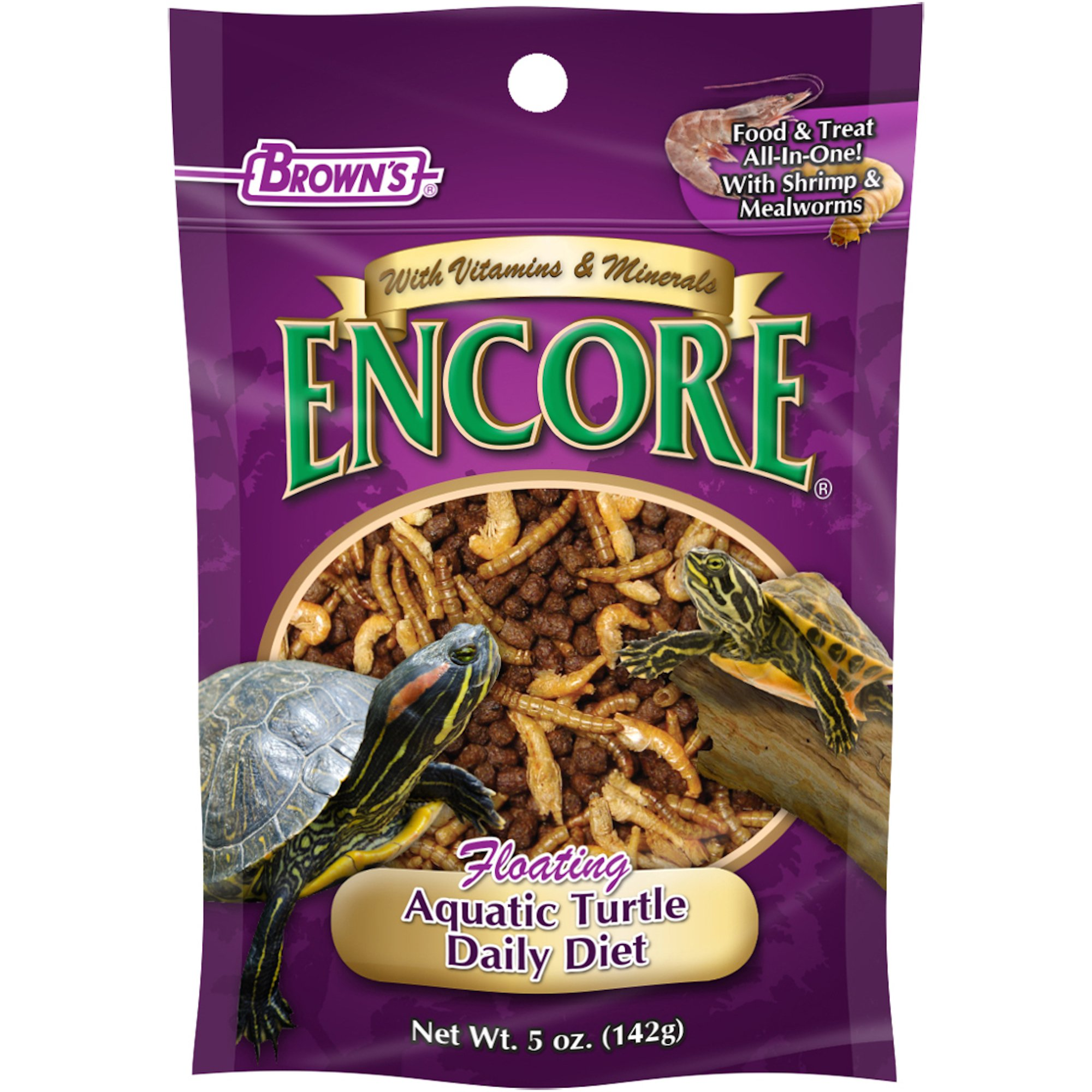 Brown's Encore Shrimp & Mealworm Floating Aquatic Turtle Food