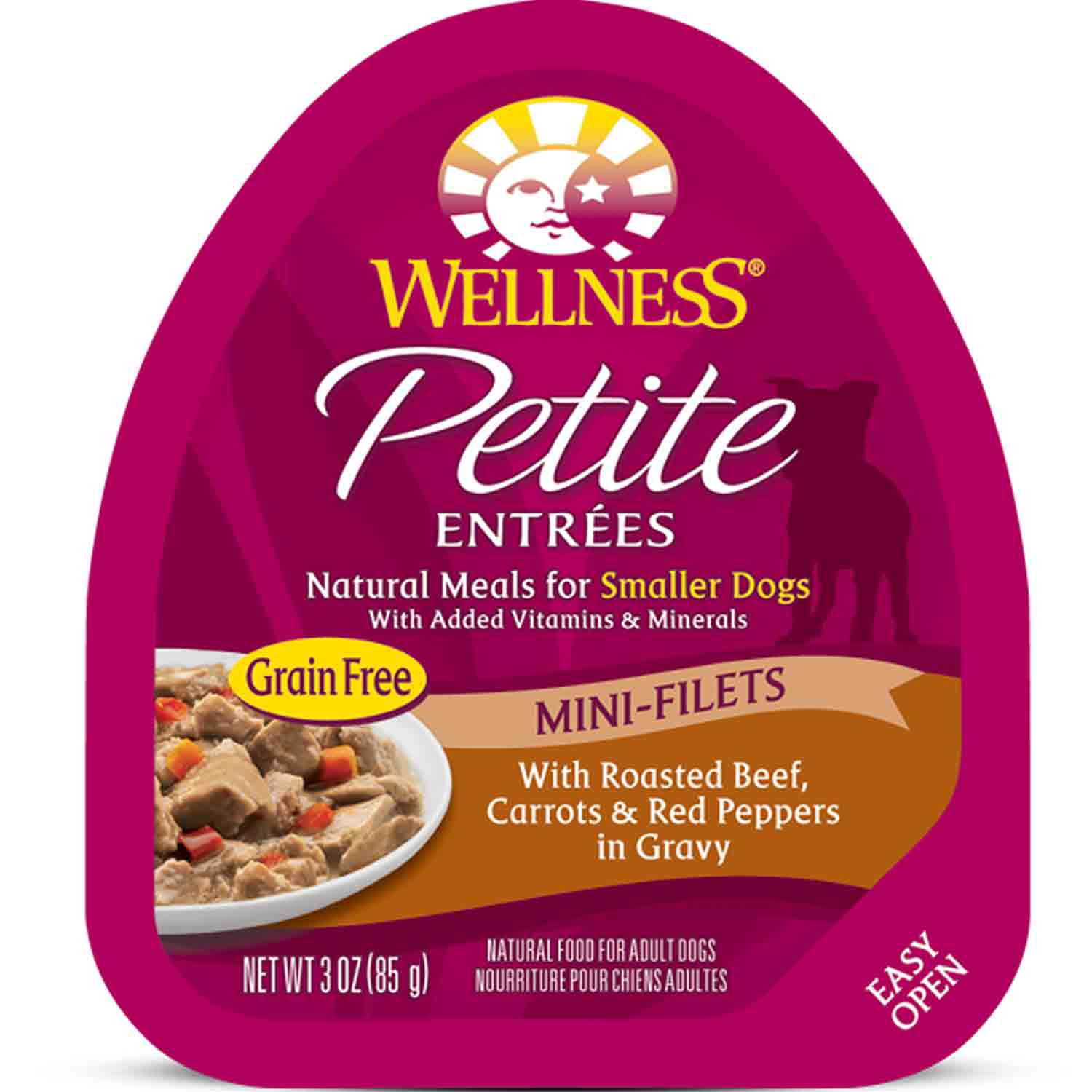 Wellness Petite Entrees Mini-Filets Roasted Beef, Carrots & Red Peppers in Gravy Dog Food
