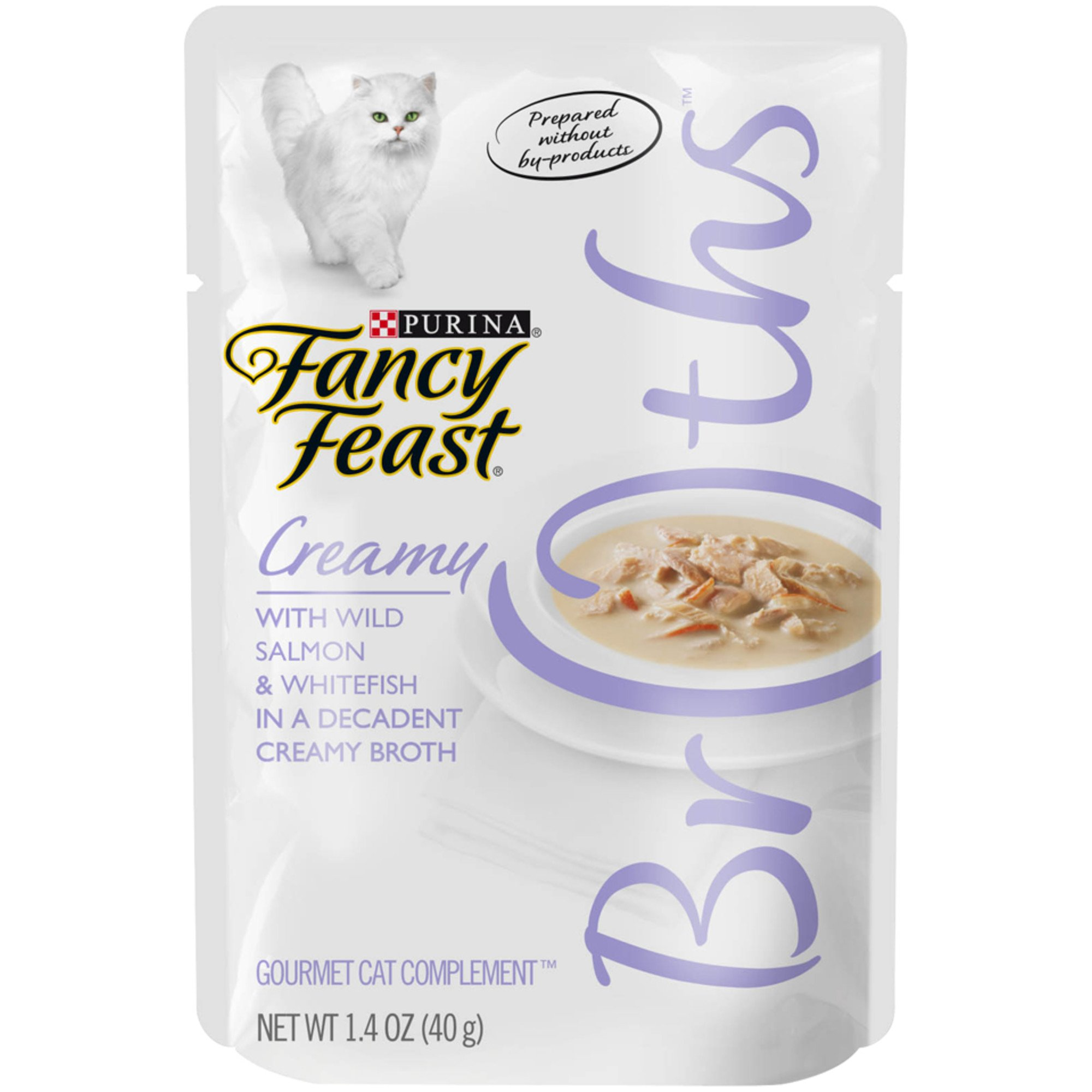Fancy Feast Broths Creamy Salmon & Whitefish Cat Food Complement