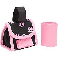 Doggie Walk Bags Designer Bags on a Roll Pink Paw Print Bag Dispenser