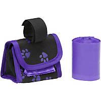 Doggie Walk Bags Designer Bags on a Roll Purple Paw Print Bag Dispenser