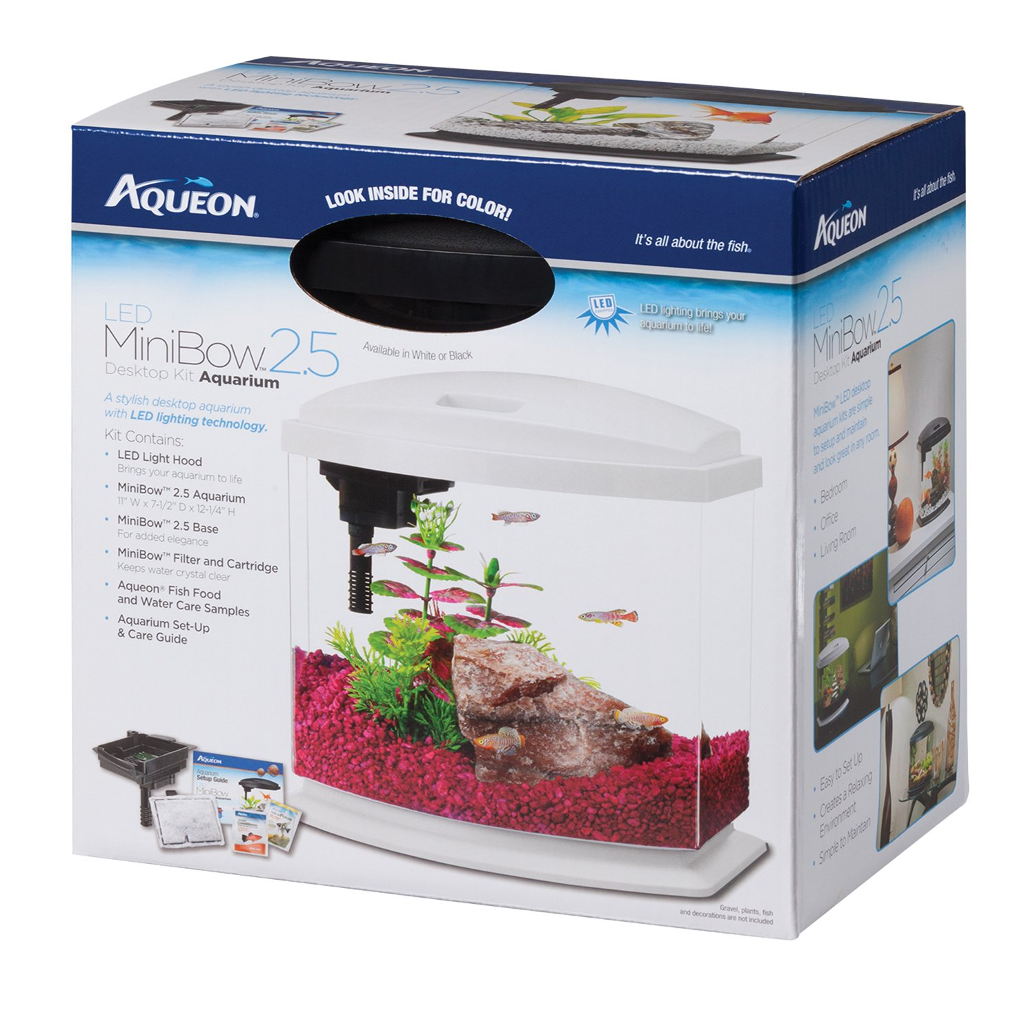 Aqueon bettabow led desktop fish aquarium kit petco for Types of betta fish petco