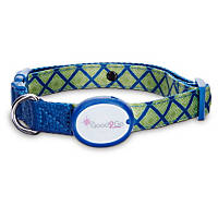 Good2Go Geometric Square Print Light-Up LED Dog Collar in Blue & Green