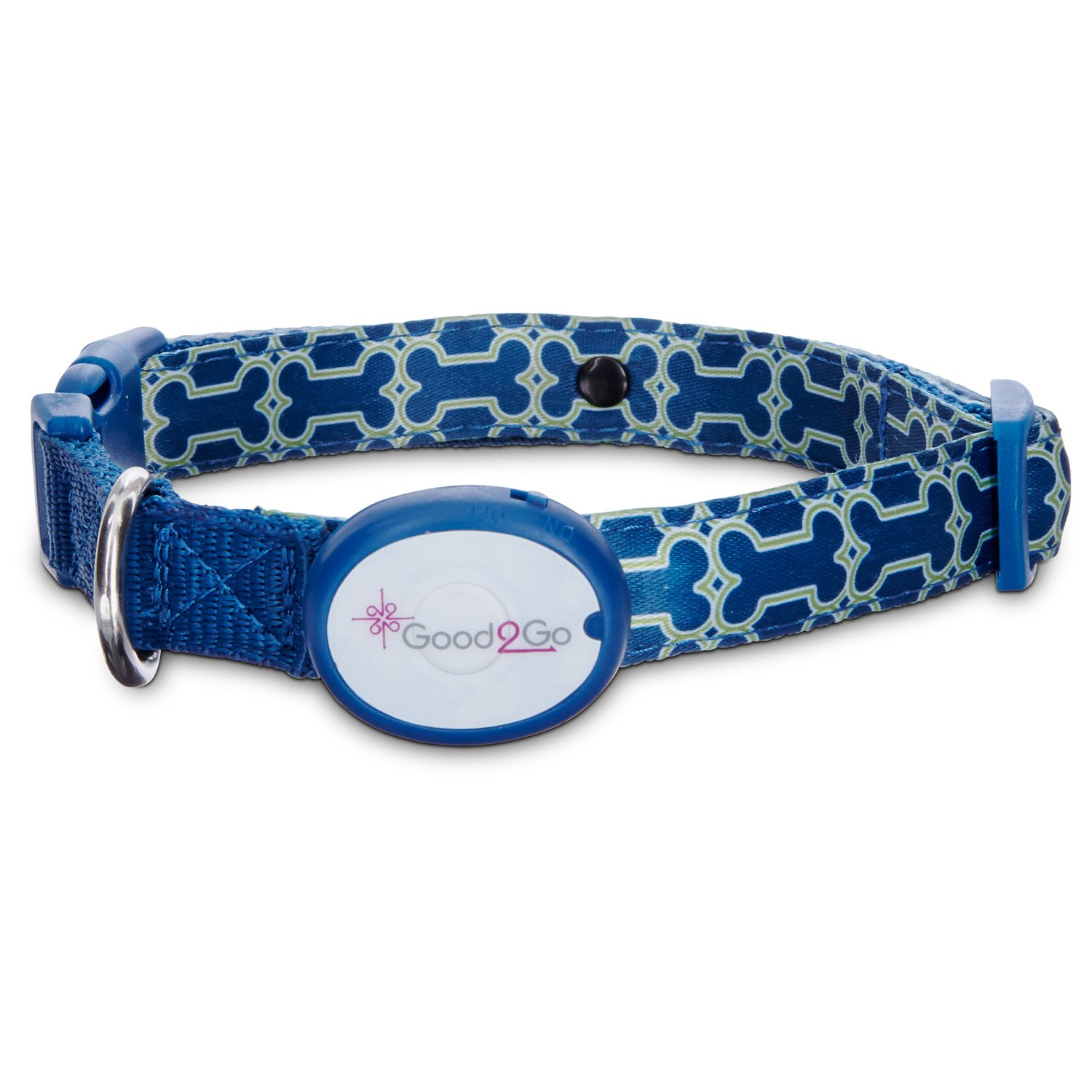 Good2Go Geometric Bone Print Light-Up LED Dog Collar in Blue & Green