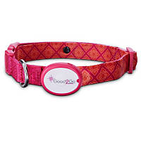 Good2Go Geometric Square Print Light-Up LED Dog Collar in Pink & Orange