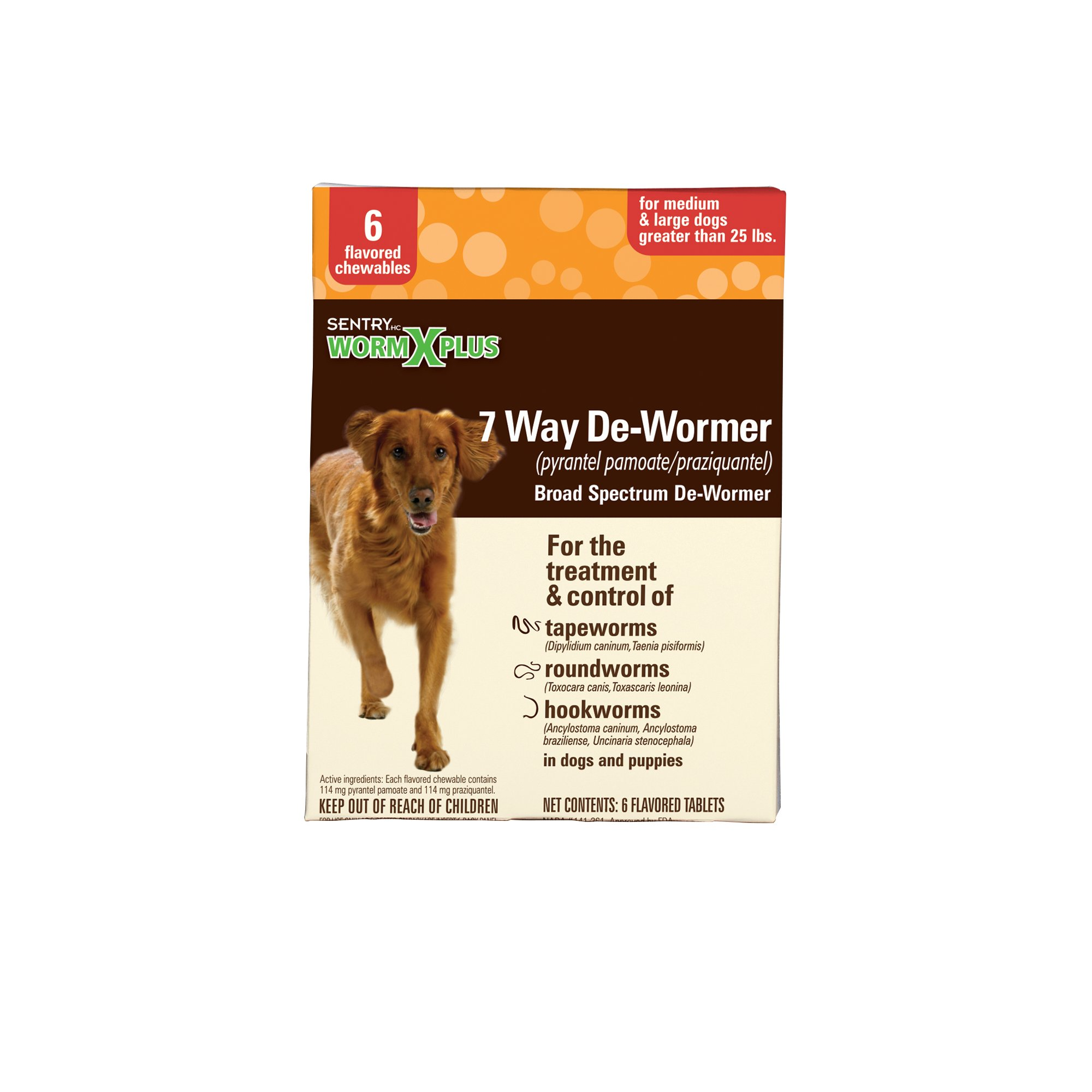 Sentry HC WormX Plus Flavored De-Wormer Chewables for Dogs