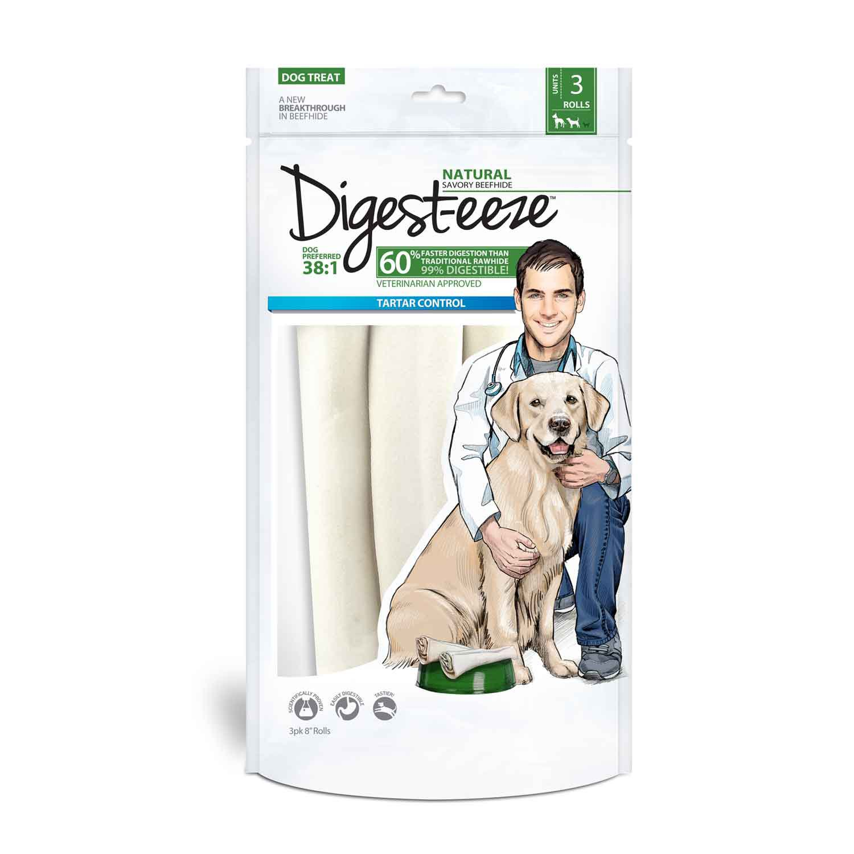 Digest-eeze Natural Rawhide Rolls Dog Treats
