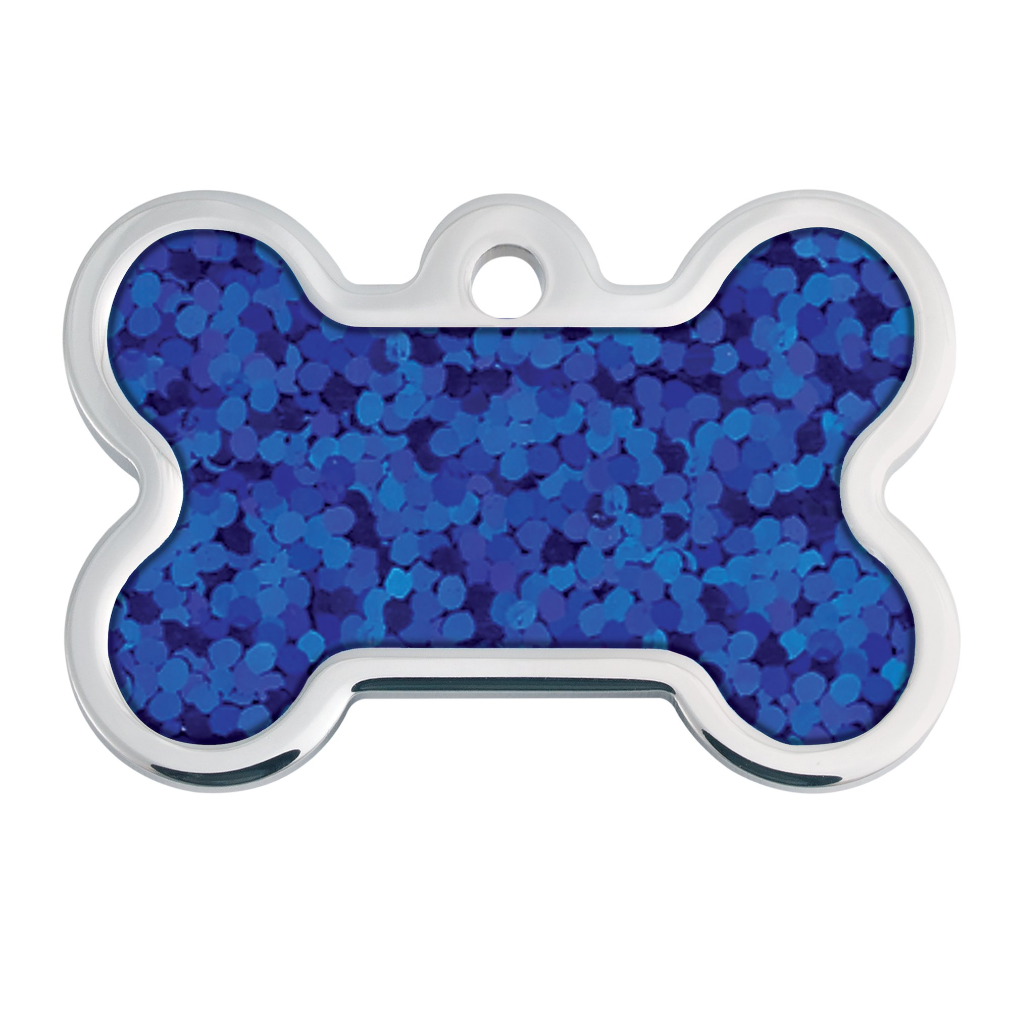 Quick-Tag Blue Hologram Bone Personalized Engraved Pet ID Tag, Large