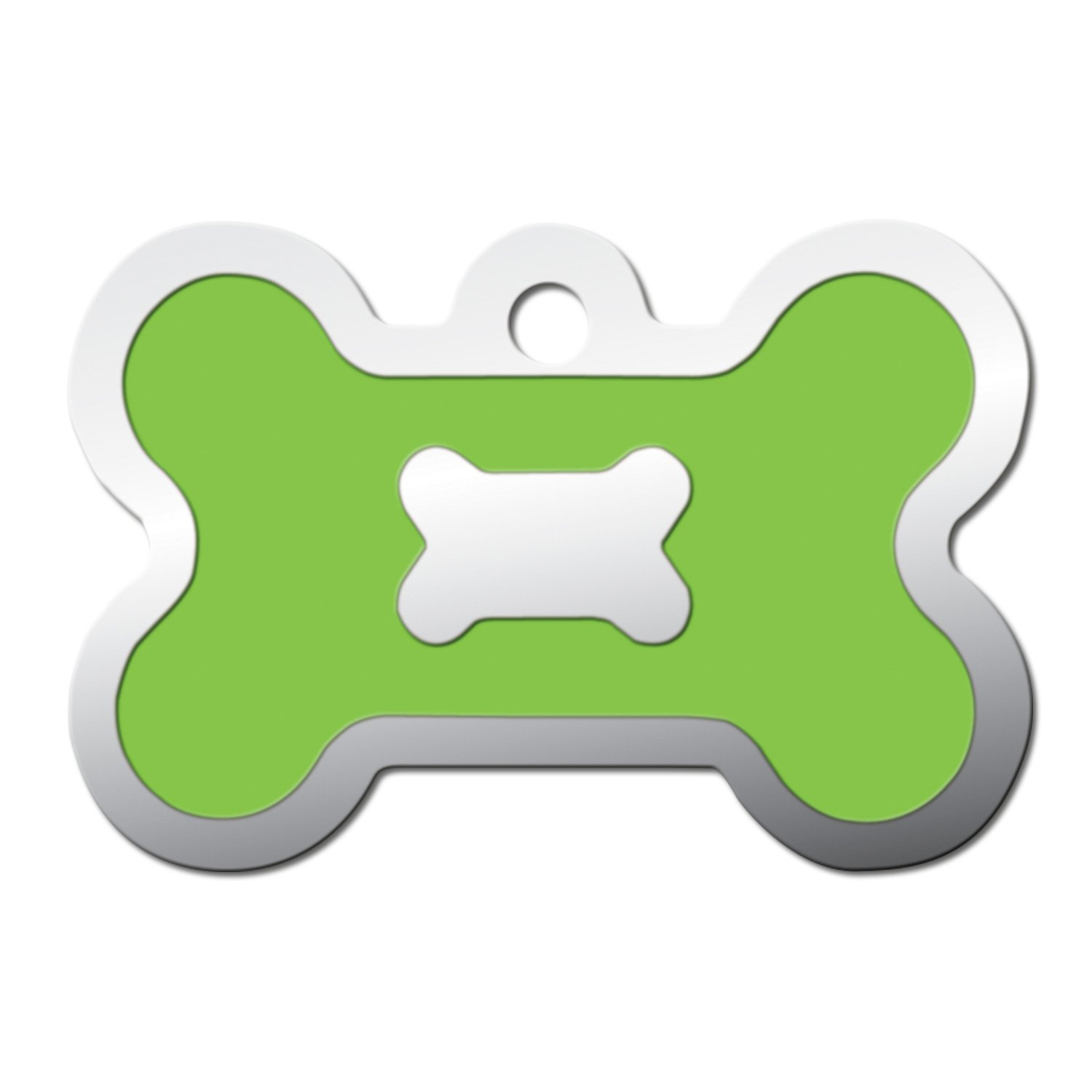Quick-Tag Neon Green Epoxy Bone Personalized Engraved Pet ID Tag, Large