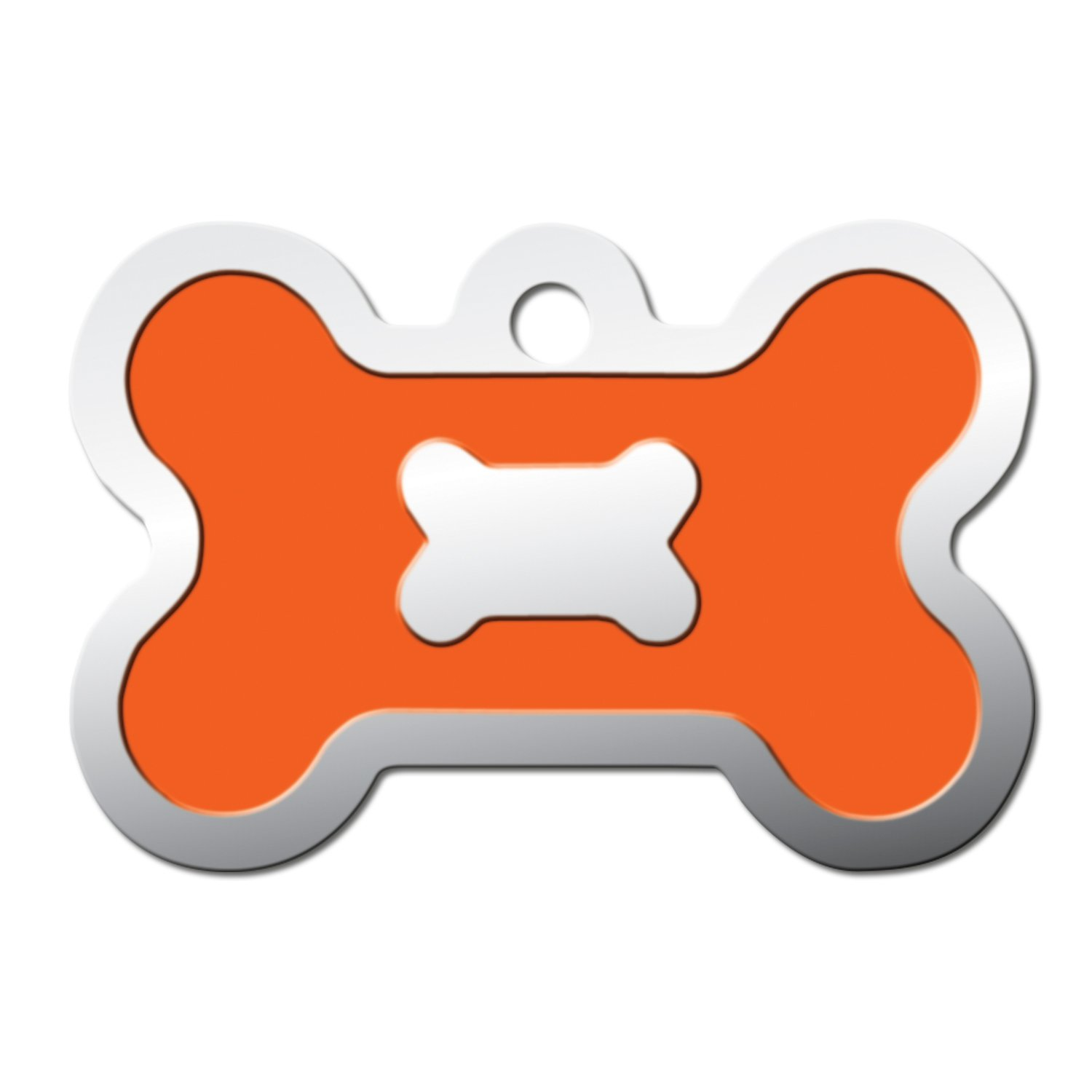 Quick-Tag Neon Orange Epoxy Bone Personalized Engraved Pet ID Tag, Large