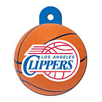 Quick-Tag LA Clippers NBA Circle Personalized Engraved Pet ID Tag, Large