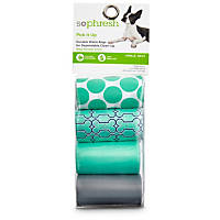 So Phresh Pick It Up Assorted Bone Print Scented Dog Waste Bags, Teal