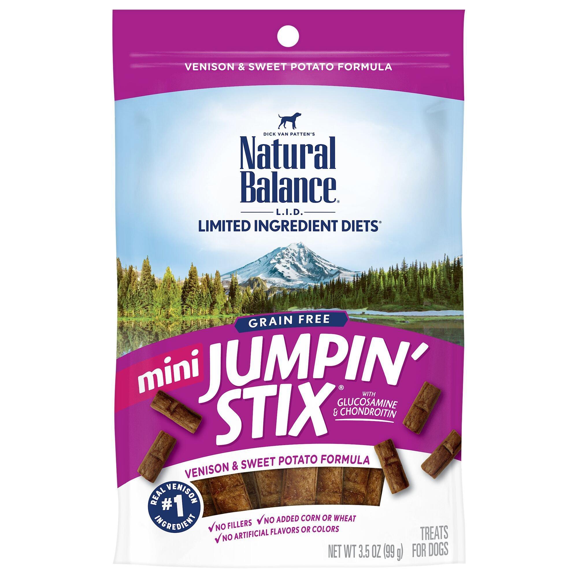 Natural Balance L.I.T. Limited Ingredient Treats Mini Jumpin Stix Venison & Sweet Potato Dog Treats